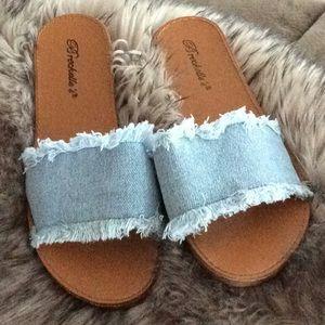 Frayed Denim Slide Sandals